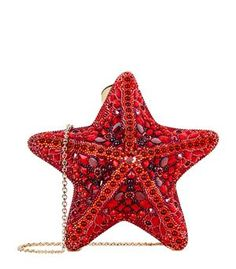 Judith Leiber Fromia Starfish Crystal Clutch Bag, Red