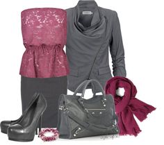 """Gray and Magenta"" by styleofe on Polyvore"