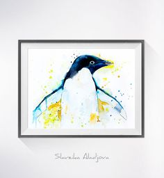 Penguin 2 watercolor painting print Penguin art Animal by SlaviART