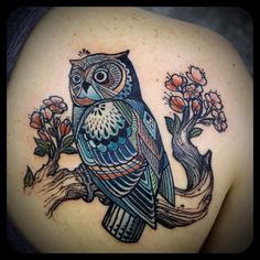 owl on a branch tattoo by David Hale