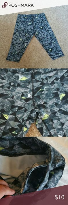 """▪RBX Gray, Black, Green Workout Crop Pants▪ Worn a few times...  Size is Large...  Color is black, gray, green, white geometric pattern...  88% polyester, 12% spandex...  Measures 16"""" across the waist without stretching, 17"""" inseam...  Sorry no trades... If you have any questions please ask... If you don't like the price please use the offer button...  Have an amazing day! """"Great Sense of Style"""" rbx Pants Capris"""