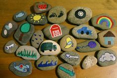 This is a great emergent literacy activity. Perfect for play individually or as a small group - groups of kids can create stories together by taking turns picking different stones - or out of a mystery bag and having to create a story about what is on the stone. I love these!