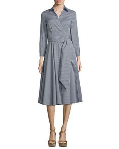 Long-Sleeve+Wrap+Shirtdress,+Black/Off+White+by+Michael+Kors+at+Neiman+Marcus.