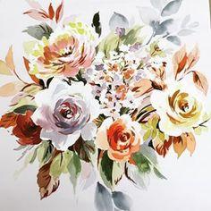 Today's demo paint with Tesco Homeware Design Department. #floralpainting #workshop #flowerpainting #watercolour