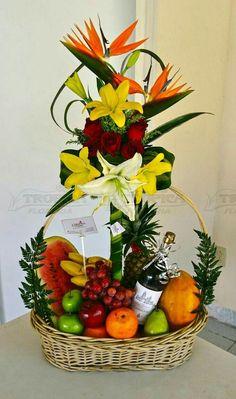 Pin on Floral arrangements Fruit Flower Basket, Fruit Flowers, Balloon Flowers, Flower Boxes, Flower Arrangement Designs, Modern Flower Arrangements, Edible Arrangements, Modern Floral Design, Fruit Photography