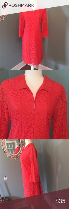 """Adrianna Papell Coral Lace Dress Size 14 Perfect dress. I wore this one time. In excellent condition. Measures 39"""" long. Fully lined with lace overlay. Zips up the left side. Coral with 3/4 length sleeves Adrianna Papell Dresses"""