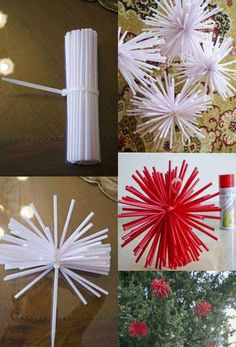 36 Creative DIY Christmas Decorations You Can Make In Under An Hour: Drinking straw christmas decoration. Straw Crafts, Christmas Projects, Christmas Time, Diy And Crafts, Christmas Crafts, Christmas Photos, Diy Christmas Decorations, Xmas Ornaments, Christmas Wreaths