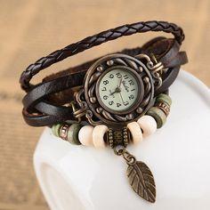 Leather Wrap Watch Wrist Watch with Leaf Charm  by TheTimeShop, $9.98