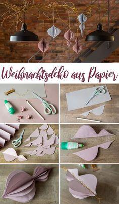Anleitung für selbst gemachte DIY Weihnachtsdeko Anhänger aus Papier