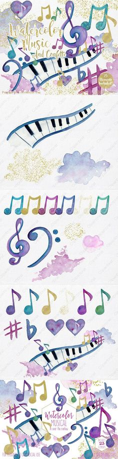 Rainbow Watercolor Music Notes #watercolor #music