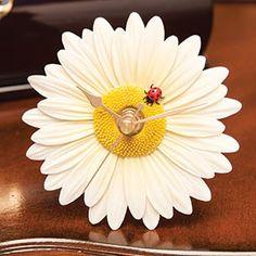 Ladybug on Daisy Flower Time Clock