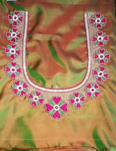 Discover thousands of images about 20 Maggam Work Designs For Blouses To Inspire You Peacock Blouse Designs, Wedding Saree Blouse Designs, Simple Blouse Designs, Fancy Blouse Designs, Traditional Blouse Designs, South Indian Blouse Designs, Embroidery Neck Designs, Aari Embroidery, Hand Work Blouse Design