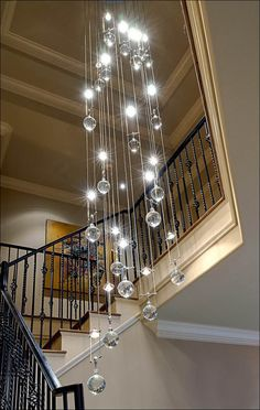 Decoration, Contemporary Crystal Chandelier Decorating Area Around Staircase In Modern Home Design: Choosing Various chandelier To Make Your...
