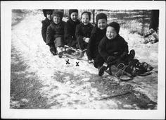 Image detail for -Children on sledge in snow
