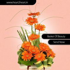 Send #bouquet of Fiery 10 pink #gerbeas with strappy #yellow and #green foliage. Visit http://www.heart2heart.in/send-flower-bunch