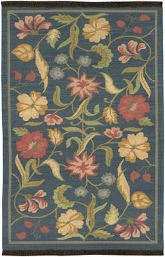 Surya Jewel Tone JT-21 Midnight Blue Floral Rug