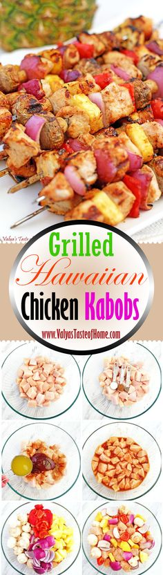 Chicken marinated in sweet BBQ sauce and freshly squeezed pineapple juice make t. Healthy Grilling, Grilling Recipes, Healthy Cooking, Barbecue, Hawaiian Chicken Kabobs, Wow Recipe, Easy Summer Meals, Salad With Sweet Potato, Dinner Is Served