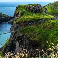At a distance of few km from Giant's Causeway tere is another spectacular attraction, the #Carrick-a-Rede , a robe bridge 18 meter long and suspended 25 meters above the sea