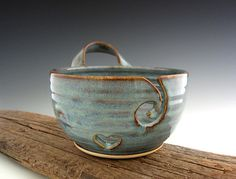 Yarn Bowl with Handle in Rust Blue - Heart and Swirl - Knitting Bowl - by DirtKicker Pottery