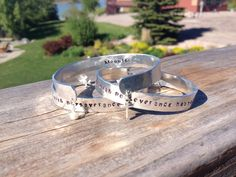 Race bracelet hand stamped and hammered aluminum cuff by Dentit