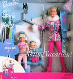 Mattel Barbie Stacie Kelly Skiing Vacation Doll Set w Working Chair Lift (2000)