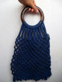 Navy Blue Woven Macrame Shopping Tote With Round Lucite Handles, 70s 80s Hand Crochet Transparent Shopper, Reusable Grocery Market Bag by BlastFromThePastBags on Etsy