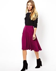 ASOS Midi Skirt in Ponte with Pocket Detail