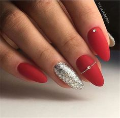 Christmas nails 🎄 🎅 🏻 red acrylic nails, red gel nails, gel manicure, al Red Nail Art, Red Acrylic Nails, Acrylic Nail Designs, Pink Nails, Nail Art Designs, Red And Silver Nails, Red Gel Nails, Glitter Nails, Red Manicure