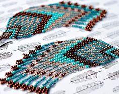 Fringe Earrings Seed Bead Earrings Beaded by AmorphiaDesigns