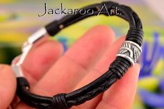 2B-053 Finely Made Sterling Silver & Leather New Wristband Bangle Men Bracelet.