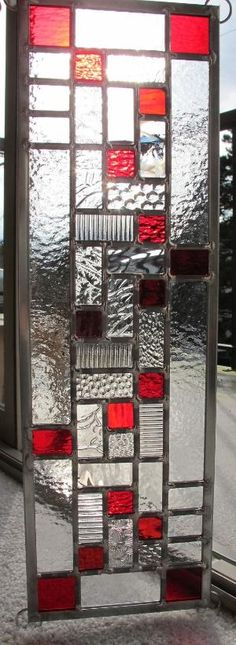 Modern Red Stained Glass Window Panel by VancouverStainGlass by zelma