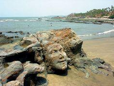 Sculpted rock by Italian sculptor Jungle, at Vagator Beach, Goa