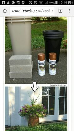 Hammered spray paint and plastic trash cans turned into planters