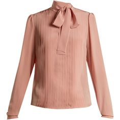 Rochas Tie-neck pleated silk blouse (40.575 RUB) ❤ liked on Polyvore featuring tops, blouses, pleated sleeve blouse, pink silk blouse, pink tie neck blouse, neck tie blouse and red neck tie