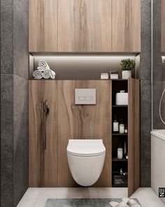 Toilet And Bathroom Design, Small Toilet Room, Small Bathroom Storage, Toilet Design, Wooden Bathroom, Bathroom Design Luxury, Laundry In Bathroom, Bathroom Styling, Home Interior Design