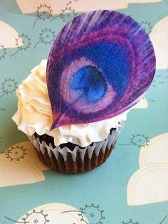 Edible Peacock Eye Feathers - Dark Purple & Magenta... oh my goodness! <33