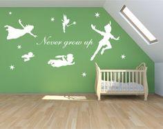 XL Peter pan decal, never grow up walldecal, mural, stickers, wall art, tinkerbell, wendy, stars fantasy fairytale nursery