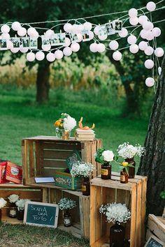 outdoor wedding decoration ideas with wood pallets outdoor hochzeitsdekoration ideen mit holzpaletten Chic Wedding, Wedding Details, Rustic Wedding, Wedding Reception, Our Wedding, Wedding Ideas, Trendy Wedding, Space Wedding, Wedding Parties