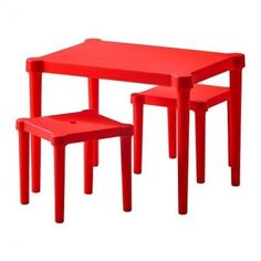 Ikea Utter Children's Table and 2 Chairs, Red