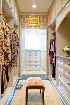 ~ Great closet setup with needed valet rods, drawers for storage underneath the window, storage overhead. ~