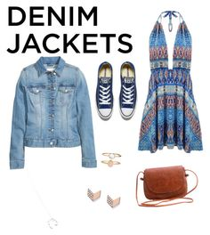 """""""Untitled #13"""" by ezgi-bilir ❤ liked on Polyvore featuring Converse, Wolf & Moon, Accessorize, FOSSIL, denimjackets and WardrobeStaples"""