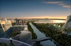 Dubai Waterfront, Marina Bay Sands, River, Luxury, City, Building, Outdoor, Outdoors, Buildings