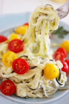 Creamy Lemon Zucchini Noodles with Tomatoes http://www.thecomfortofcooking.com/2013/09/creamy-lemon-zucchini-noodles-with-tomatoes.html