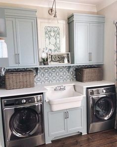 modern farmhouse laundry room with laundry room organization, laundry room storage, neutral laundry room with open shelves with farmhouse sink and cement tile backsplash Laundry Room Remodel, Laundry Room Cabinets, Laundry Room Organization, Laundry Room Design, Laundry In Bathroom, Organization Ideas, Blue Cabinets, Laundry Room Colors, Diy Cabinets