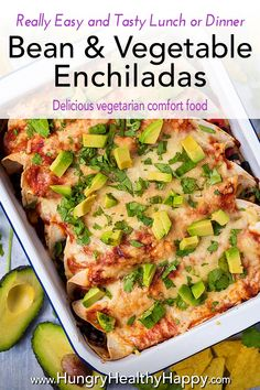 These easy Bean and Vegetable Enchiladas are cheesy, veggie packed and full of flavour. Made using our simple homemade enchilada sauce, they are easy to adapt and freeze really well, making them great for batch cooking.