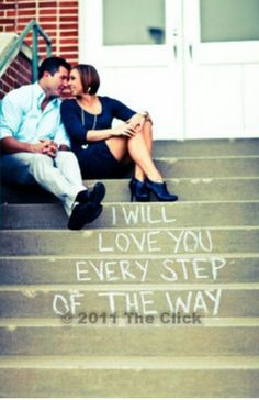 cute idea if there happen to be nice steps wherever we have our engagement shot