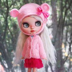 Blythe Set Helmet & Sweater in Baby Pink