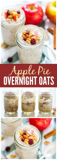 Apple Pie Overnight Oats. Like having dessert for breakfast! Healthy, filling…