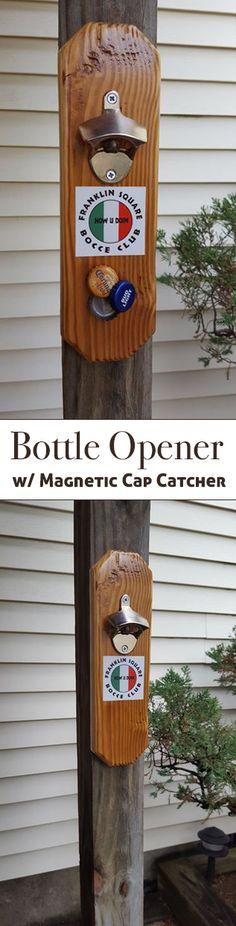 Beer Bottle Opener W Magnetic Cap Catcher