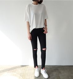 street style daily uniform. wrinkled white tee plus faded ripped black jeans. i'm in some version of this daily #ootd